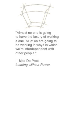 """Almost no one is going to have the luxury of working alone. All of us are going to be working in ways in which we're interdependent with other people."" --Max De Pree, Leading without Power"